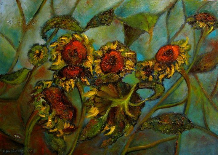 Słoneczniki. 50x70,olej