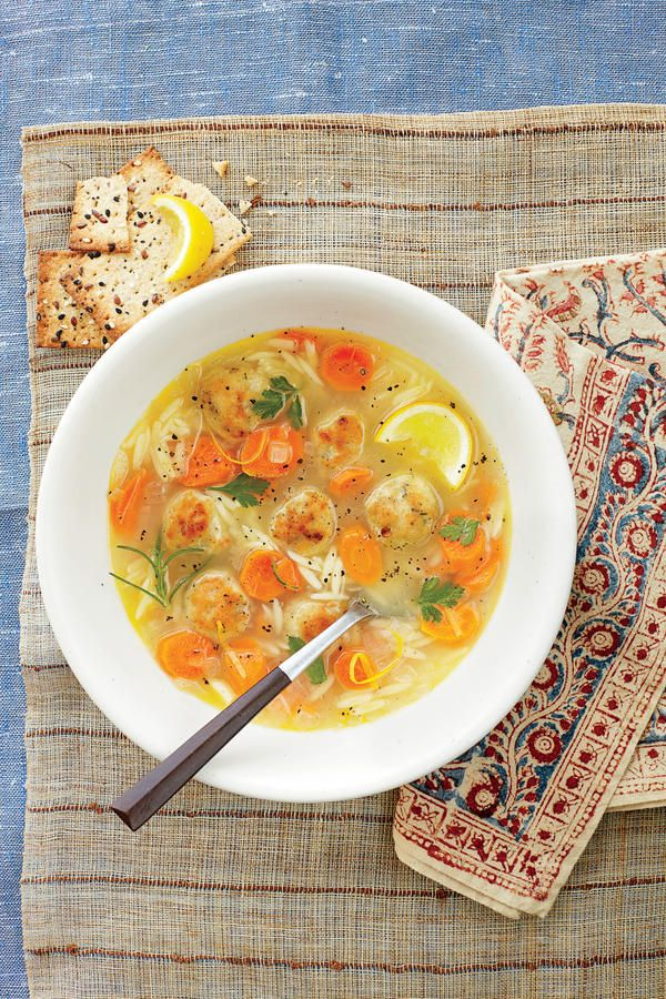 Lemon, Orzo, and Meatball Soup: his hearty twist on chicken noodle soup features small grains of orzo pasta and savory chicken meatballs.