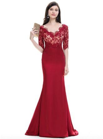 Trumpet/Mermaid V-neck Sweep Train Satin Evening Dress