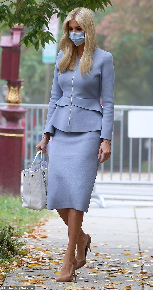 Ivanka Trump Steps Out In A Cornflower Blue Skirt Suit Trump Fashion Ivanka Trump Outfits Fashion