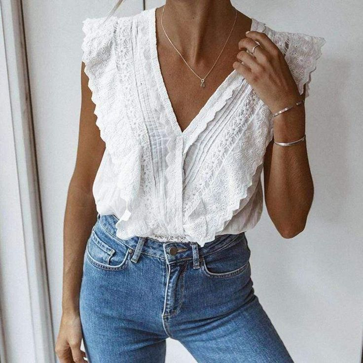 Damen, Temperament, ärmellose Bluse mit V-Ausschnitt – podshoe – Outfits