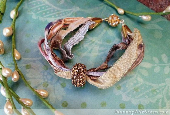 "Make this elegant bracelet with ribbons and trims you already have. You knew you were saving all those beautiful silk ribbon scraps for a reason! Materials 7 scraps of ribbon, 7"" length each Large-..."