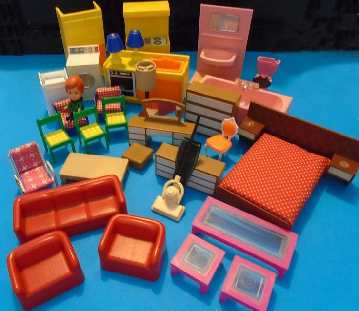 Plastic Doll House Furniture Bulk Lot 28 pcs in Dolls, Bears, Houses, Miniatures, Furniture | eBay