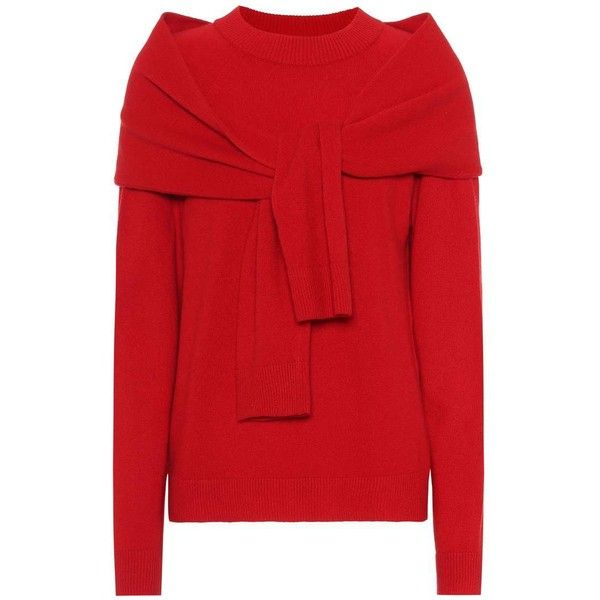 Isa Arfen Merino Wool Sweater ($480) ❤ liked on Polyvore featuring tops, sweaters, red, merino wool top, isa arfen, merino wool sweater, merino sweater and red top