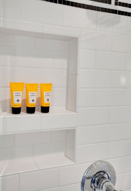 Gray And White Bathroom Shower Tile