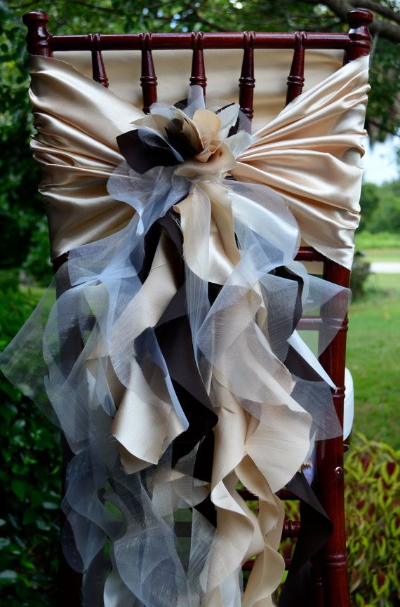 Set of 10 Custom Chair Sash Curly Willow Accent & Optional Chair Cover Sleeve for Wedding or Special Event