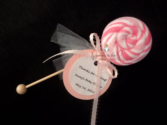 baby Washcloth Lollipop, Baby Shower Favors, Diaper Cake, Candy Baby Shower, Decorations, Centerpiece, baby shower games, sweet treats