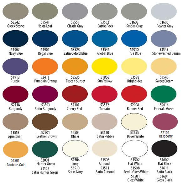 Tremclad Spray Paint Color Chart