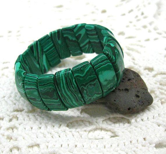 Malachite gemstone stretch bracelet wide stretch bangle by SanaGem