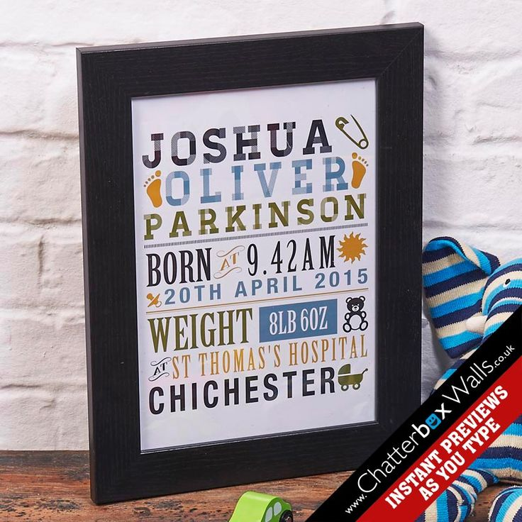 Personalised birth date framed word art print