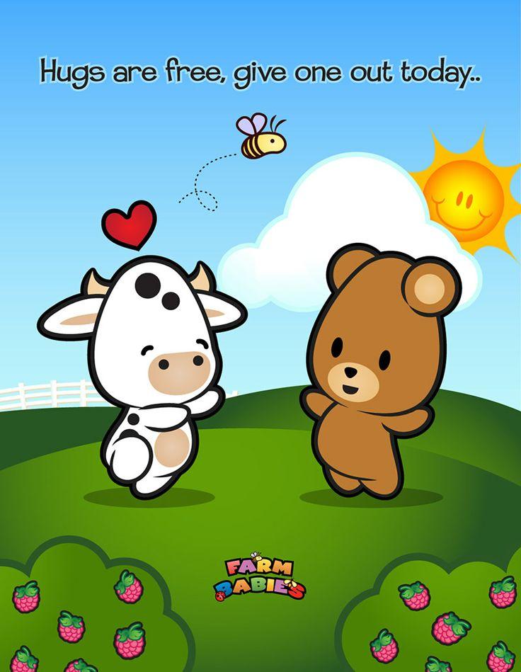 Farm Babies / #kawaii #cute #love #quotes #illustration#baby #farm #animals #cartoon #bear #cow #hug