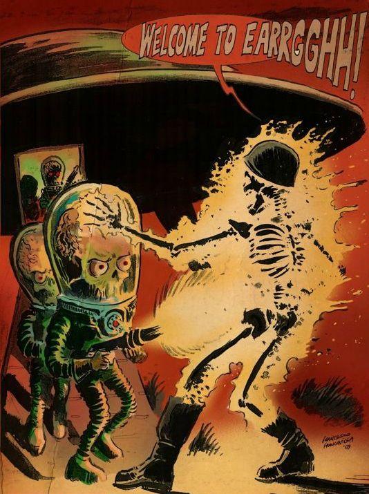 vintage retro illustration science fiction sci-fi sci fi alien pulp art art pulp horror martian martians - picslist.com