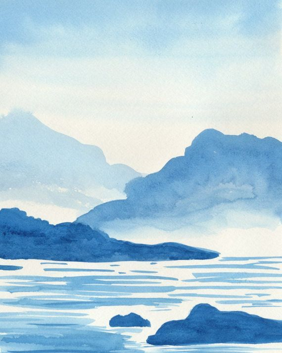 Mountain Painting Blue Watercolor Print Nature Wilderness