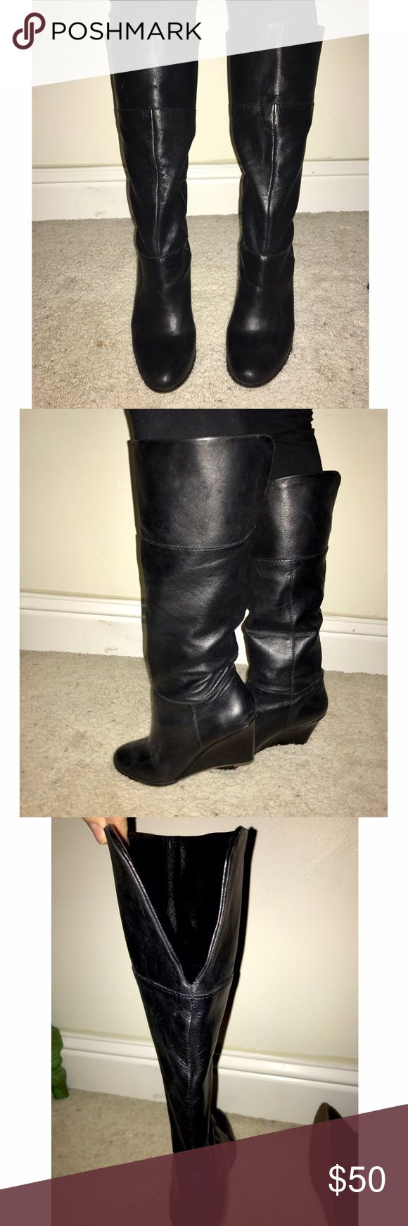 Steven by Steve Madden black boots Soft inside, true to size, worn less than 3 times, wedged heel, cute with any outfit, the back makes a V and hit right below the knee. Steven by Steve Madden Shoes Heeled Boots