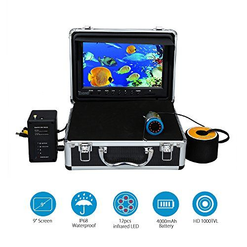 Eyoyo 9 inch LCD w/Remote Control+ 50M 1000TVL Fish Finder Underwater Fishing Camera with Infrared IR LED Lights  http://fishingrodsreelsandgear.com/product/eyoyo-9-inch-lcd-wremote-control-50m-1000tvl-fish-finder-underwater-fishing-camera-with-infrared-ir-led-lights/  9 inch TFT LCD screen with remote control,1000TVL high definition camera provide more clear and vivi image 12 Infrared LED lights as the light source, lights can be turned on/off, brightness is adjustable Water