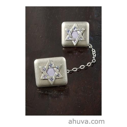 Crystal Stones On Star Of David Tallit Clips  #israeli #gift #israel #judaica #holyland #mitzvah #jewish