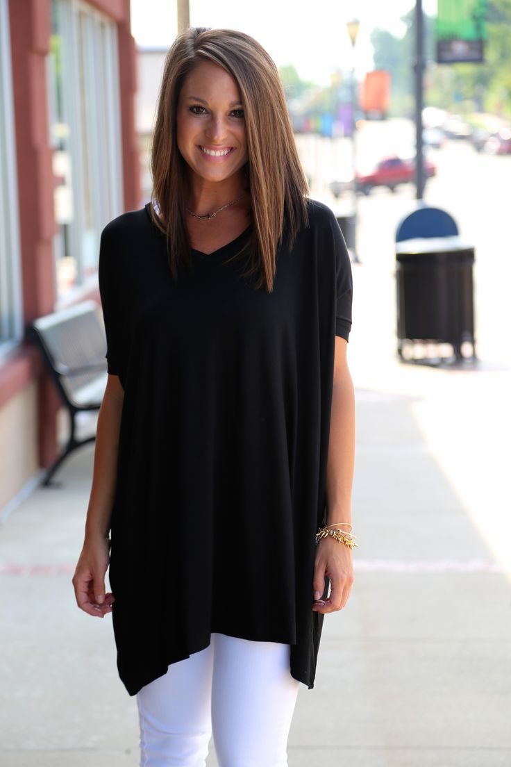 Black V-Neck Piko {TUNIC}