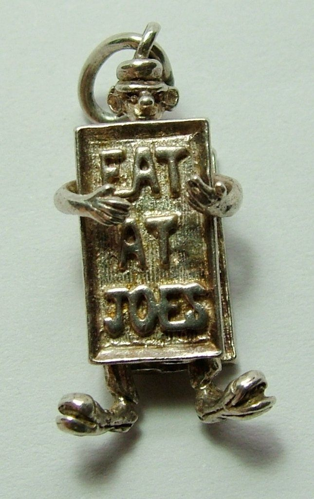 1960's Silver Nuvo Charm Man Wearing Advertising Board 'Eat At Joes'