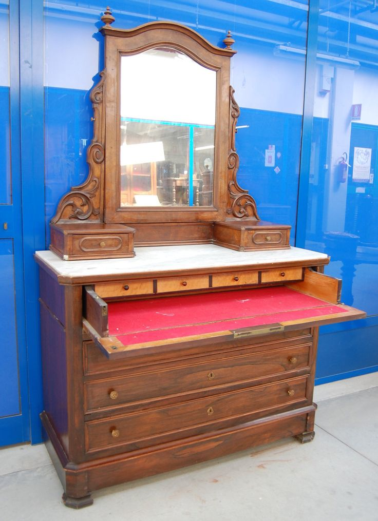 Comò secretaire in palissandro Napoleone III con specchio seconda metà '800