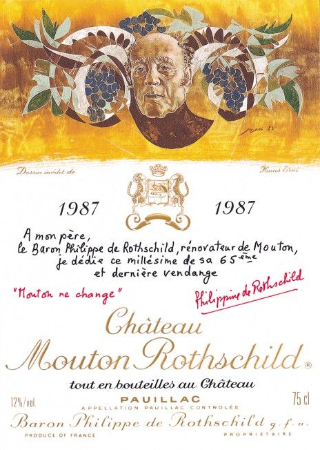 1987 Chateau Mouton-Rothschild label by Hans Erni. #Wine / His skill as a portrait painter is evident from his design for the Mouton Rothschild 1987 label. Transforming his sitter into a symbol, Erni has managed to capture the radiant creative energy of Baron Philippe de Rothschild in what was to be a final tribute.