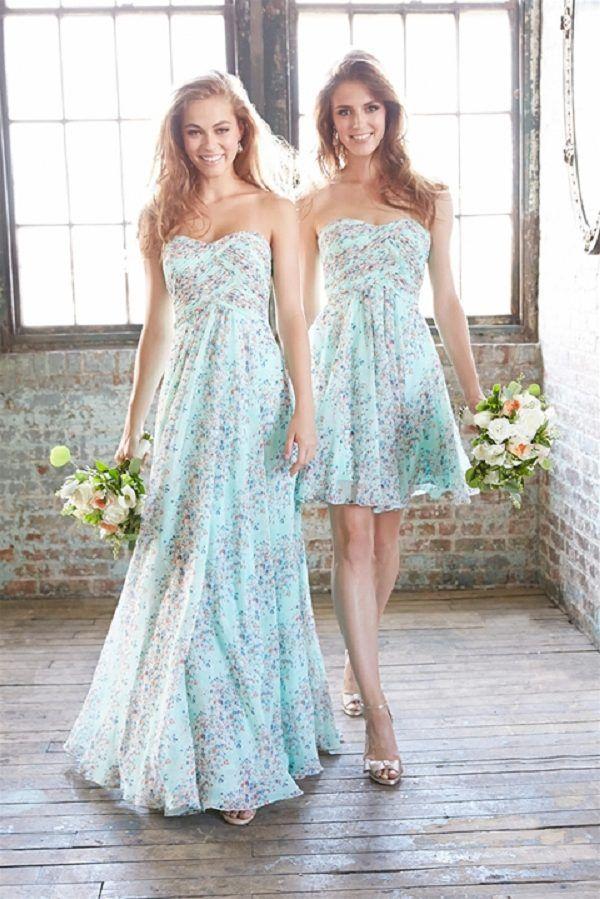 mint subtle floral prints bridesmaid dresses / http://www.deerpearlflowers.com/mix-n-match-bridesmaid-dresses/2/