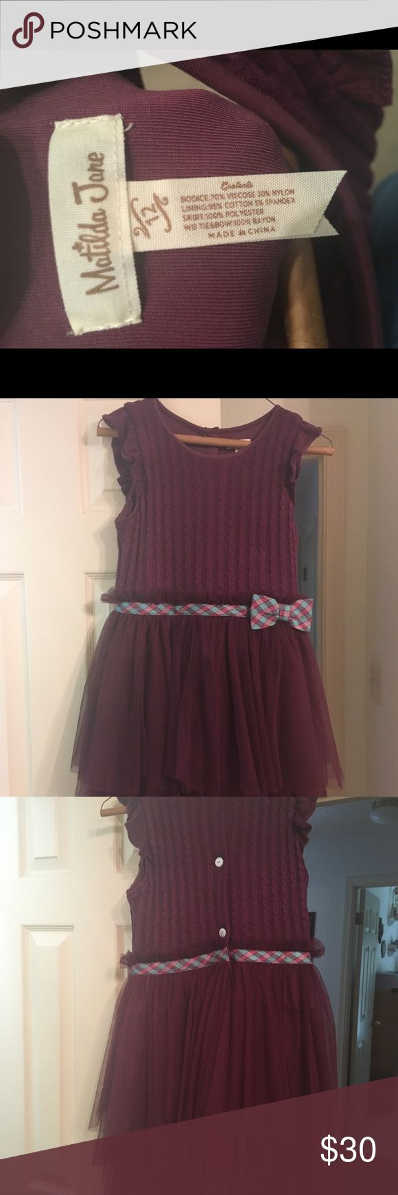 Girl's size 12 Matilda Jane deep purple dress Worn twice. Like New. Girl's size 12. Deep purple. Comes from smoke free pet free home. I have a matching 3-6 month baby git's dress with bloomers too. Let me know if you are interested in it too. Matilda Jane Dresses Formal
