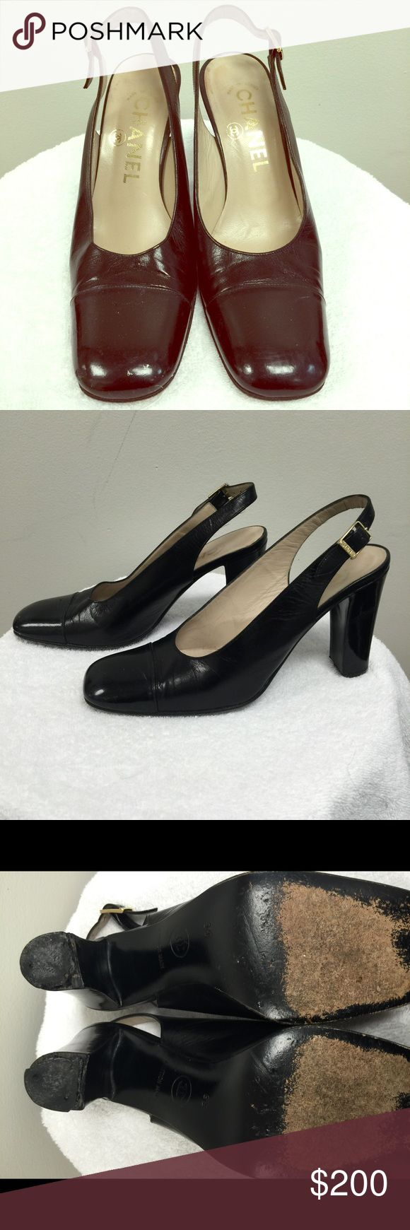 100% authentic Chanel Slingback heels These are authentic and they are in good shape as well. Pictures show that the heel is a little beat up but a cobbler can easily replace that. Price reflects condition CHANEL Shoes Heels