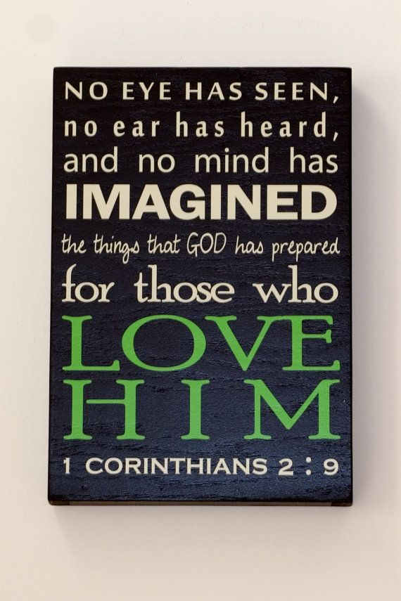 No eye has seen, typography, Scripture Quote, Wall hanging, Word Board, art, Sign, Plaque, Subway Style