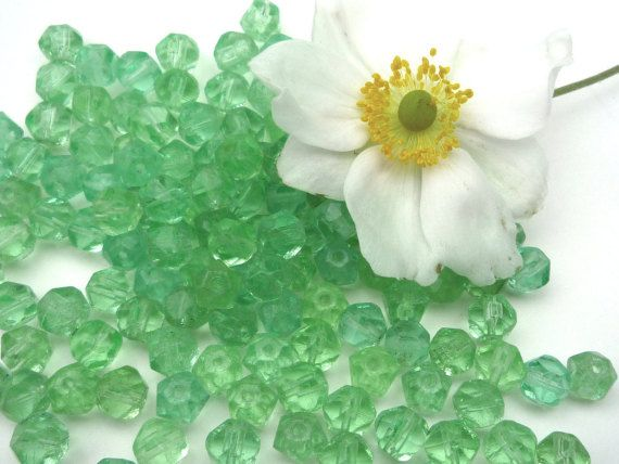 200 Vintage Green Glass Beads Small Chandelier by APureVintage