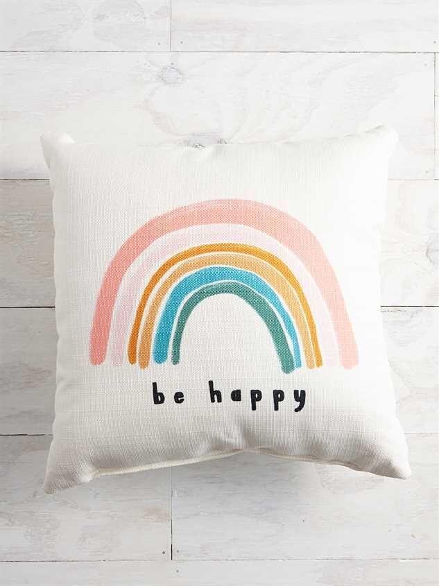 Be Happy Pillow Girls Decorative Pillows Pillows Rainbow Pillow