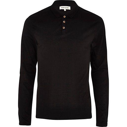 Black long sleeve polo shirt