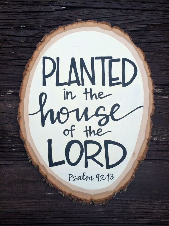 Psalm 92:13 Bible Verse Art Wood Round by SouthernStrokes on Etsy