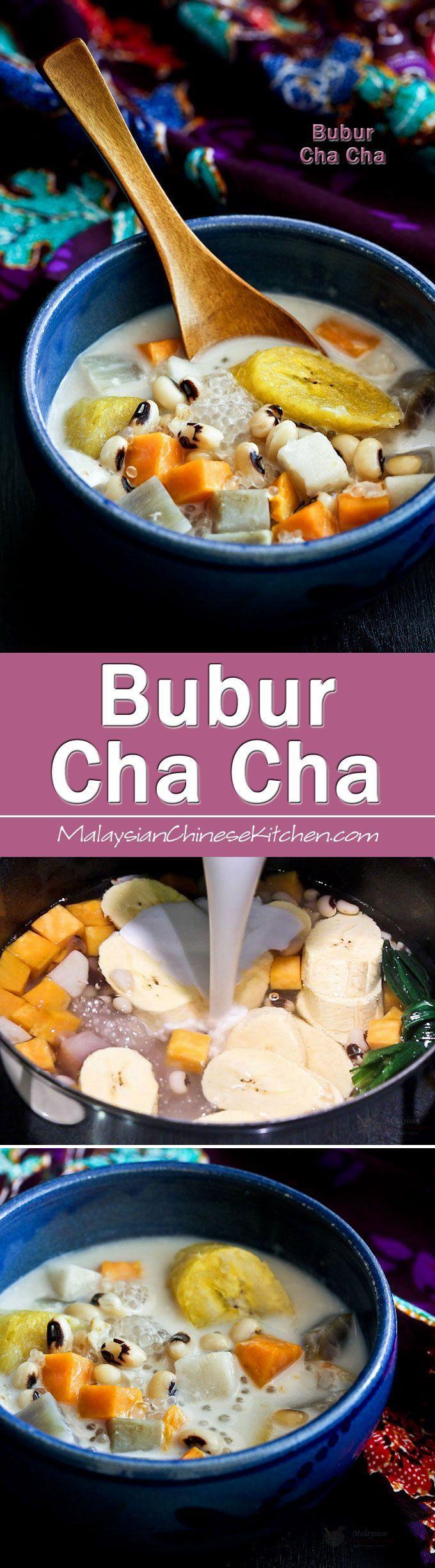Bubur Cha Cha, a popular Malaysian coconut based dessert with yam, taro, sweet potatoes, black eyed peas, and bananas. Very delicious and satisfying.   MalaysianChineseKitchen.com