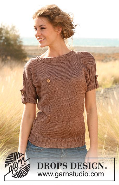 """Knitted DROPS sweater with breast pocket and sleeve flaps in """"Cotton Viscose"""".  Size: S - XXXL.   Free pattern by DROPS Design."""