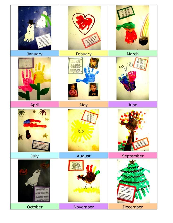 Calendar Ideas For Grandparents : Best handprint calendar footprint images on pinterest