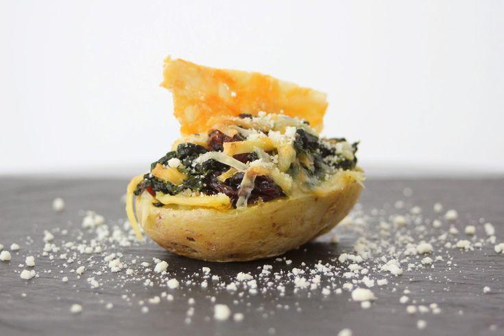 El món de Juju: Patates farcides d'espinacs a la catalana amb cruixent de formatge