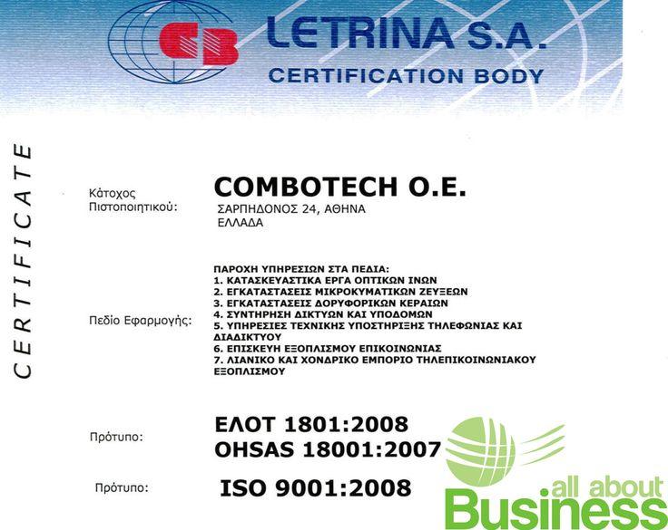 """Ο συνεργάτης μας ComboTech πιστοποιήθηκε με τα ISO18001:2007 & 9001 για τις Δραστηριότητες της εταιρείας του """" Κατασκευαστικά έργα οπτικών ινών, Εγκαταστάσεις Μικροκυματικών ζεύξεων, Εγκαταστάσεις Δορυφορικών κεραιών, Συντήρηση Δικτύων και Υποδομών, Υπηρεσίες τεχνικής υποστήριξης τηλεφωνίας και διαδικτύου, Επισκευή εξοπλισμού επικοινωνίας, Λιανικό και χονδρικό εμπόριο τηλεπικοινωνιακού εξοπλισμού"""". https://goo.gl/hDtHq3"""