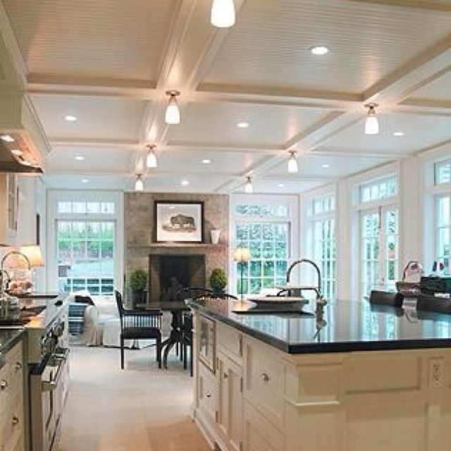 Amazing open kitchen. Love the sitting area!: Dreams Kitchens, Window, Open Spaces, Open Floors Plans, Dreams House, Open Kitchens, Families Rooms, White Cabinets, White Kitchens