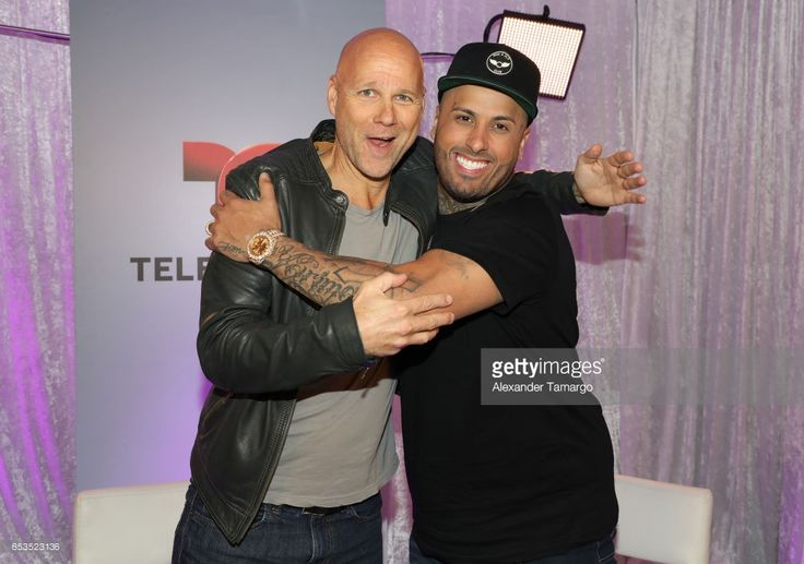 President of Endemol Shine Latino Laurence Drillich and Nicky Jam are seen at Telemundo Studios where Nicky Jam announced that Telemundo would be airing Nicky Jam's biopic 'El Ganador' on March 10, 2017 in Miami, Florida.