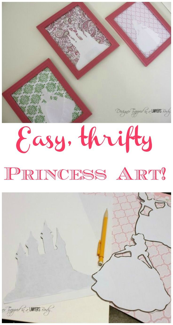 AWESOME!  Create thrifty and easy princess silhouette art!  Can use this method to create art for boys, too!  Use any shapes you want!  By Designer Trapped in a Lawyer's Body for All Things Thrifty.