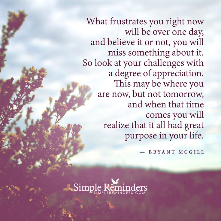 What frustrates you right now will be over one day, and believe it or not, you will miss something about it. So look at your challenges with a degree of appreciation. This may be where you are now, but not tomorrow, and when that time comes you will realize that it all had great purpose in your life. — Bryant McGill
