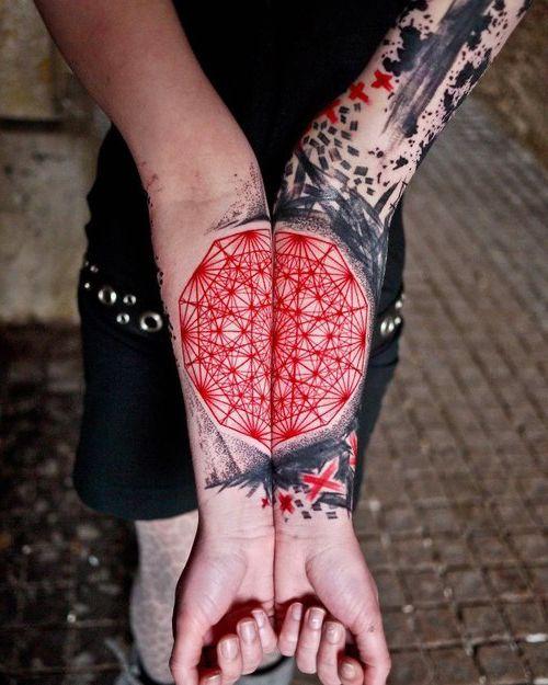 Mandala Mating Trash Polka tattoo