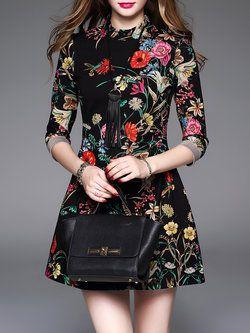 Floral Cotton 3/4 Sleeve Floral Print Vintage Mini Dress