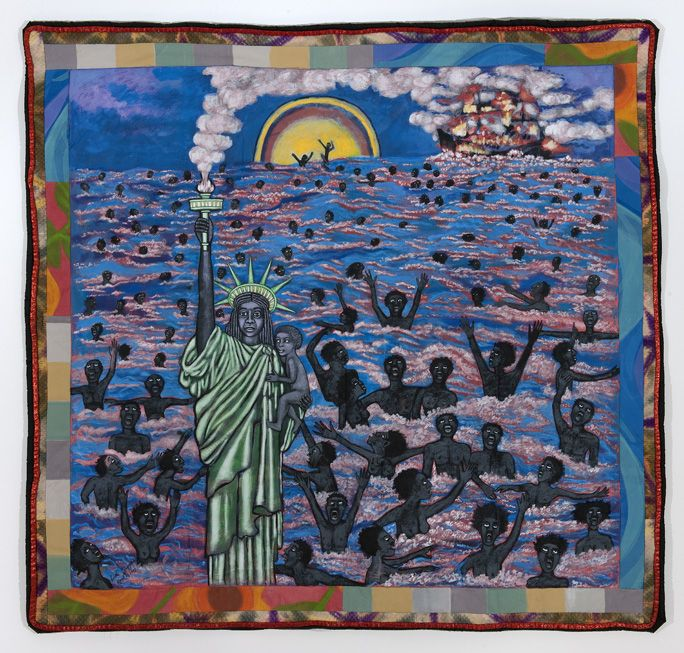 """""""We Came to America"""" quilt art by Faith Ringgold"""
