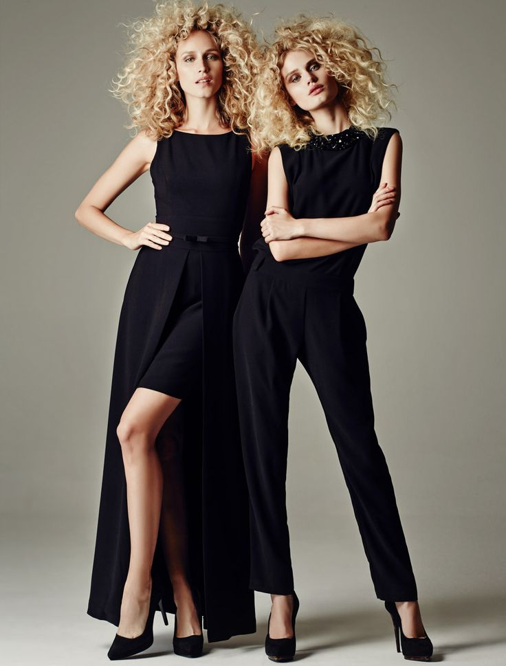 BLACK BODY SUIT AND BLACK LONG DRESS