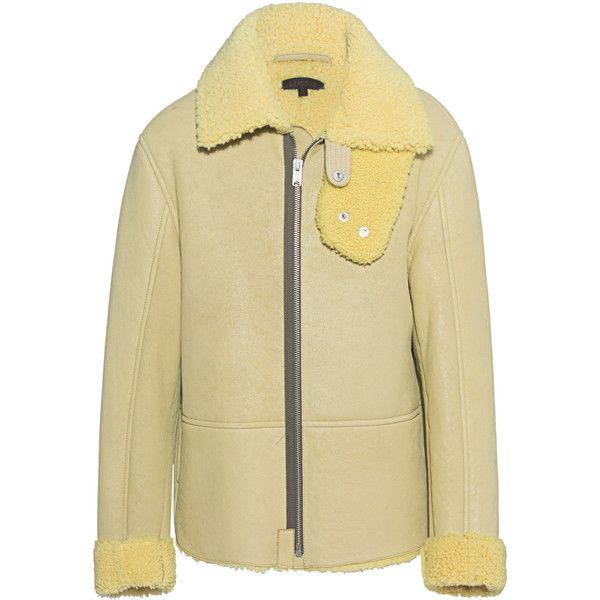YEEZY God Sun Yellow // Shearling jacket (€1.369) ❤ liked on Polyvore featuring men's fashion, men's clothing, men's outerwear, men's jackets and mens shearling jacket