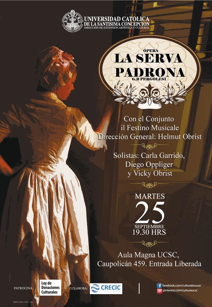 """ÓPERA: """"LA SERVA PADRONA"""", con el conjunto """"il Festino Musicale""""y la Dirección General de Helmut Obrist. Martes 25 de septiembre a las 19.30 hrs. Entrada Liberada. $0"""