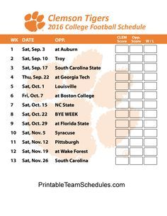 Clemson Tigers College Football Schedule 2016 Print Here: http://printableteamschedules.com/collegefootball/clemsontigers.php