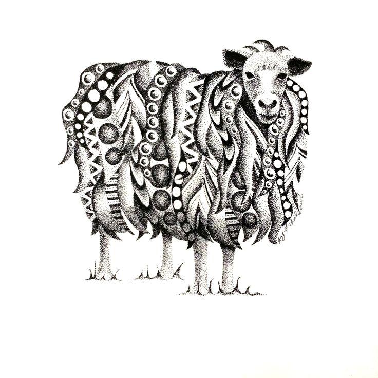 POINTILLISM sheep print by StudioAmyLynn on Etsy https://www.etsy.com/listing/262686358/pointillism-sheep-print