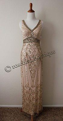 BHLDN Maxine Champagne Old Hollywood Gatsby Sue Wong Wedding Gown Dress, 0 or 6